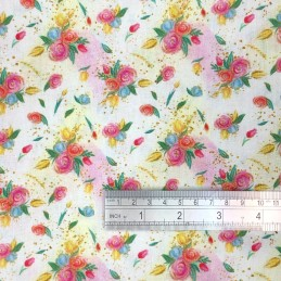 Rose Floral Bouquet White Scale
