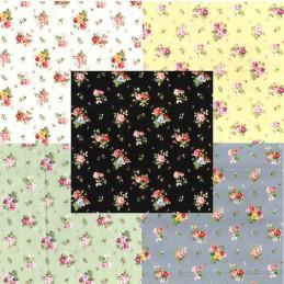 100% Cotton Poplin Fabric Rose & Hubble Sponge Lane Roses Floral Flowers