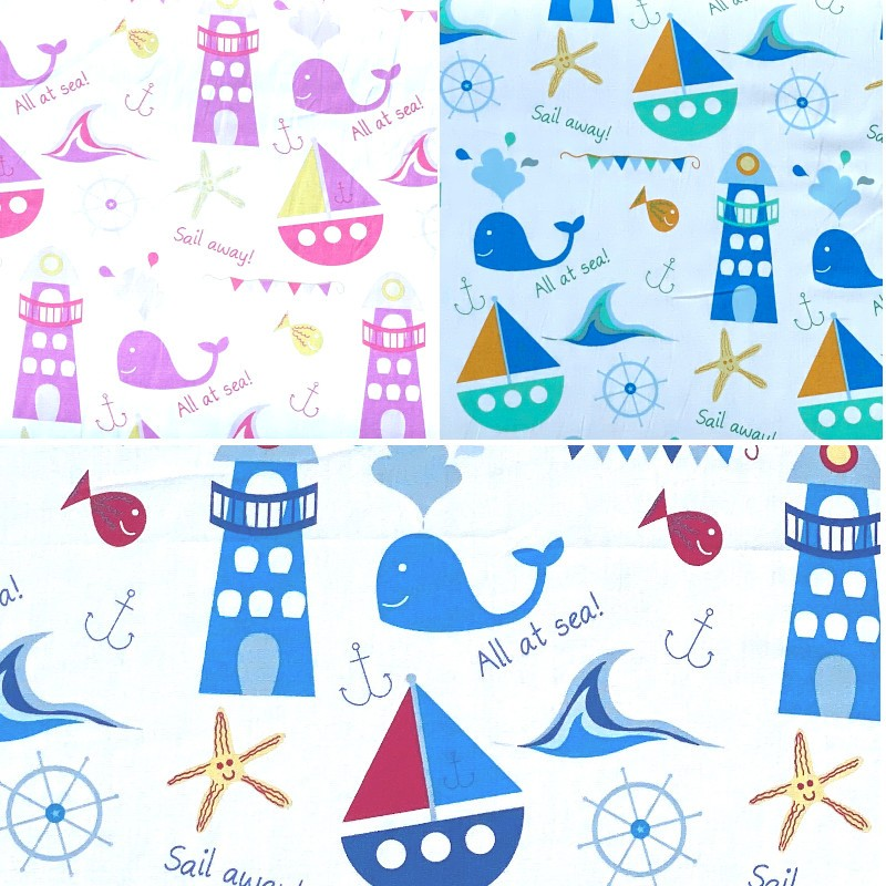 Sail Away Nautical Boats Sea Lighthouse 100% Cotton Poplin Fabric Patchwork