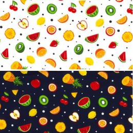100% Cotton Poplin Fabric Rose & Hubble Mini Fruit Mix Spots Melon