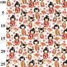 100% Cotton Poplin Fabric Rose & Hubble Japanese Geisha Dolls Hand Fans Floral