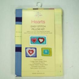 Hearts Easy Stitch Pillow Kit Panel 100% Cotton