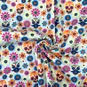 Polycotton Fabric Mexican Candy Skulls Moustache Floral Flowers