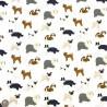 100% Cotton Fabric John Louden Dog Breeds Pug Border Collie Dogs 150cm Wide