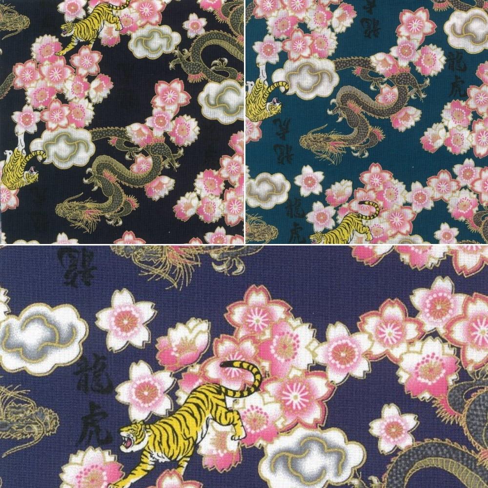 100% Japanese Cotton Fabric Nutex Kobo Metallic Oriental Dragons Tigers Flowers