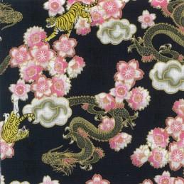 100% Japanese Cotton Fabric Nutex Kobo Metallic Oriental Dragons Tigers Flowers 61560 101