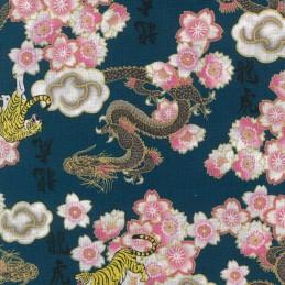 100% Japanese Cotton Fabric Nutex Kobo Metallic Oriental Dragons Tigers Flowers 61560 102