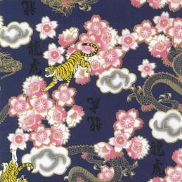 100% Japanese Cotton Fabric Nutex Kobo Metallic Oriental Dragons Tigers Flowers 61560 104