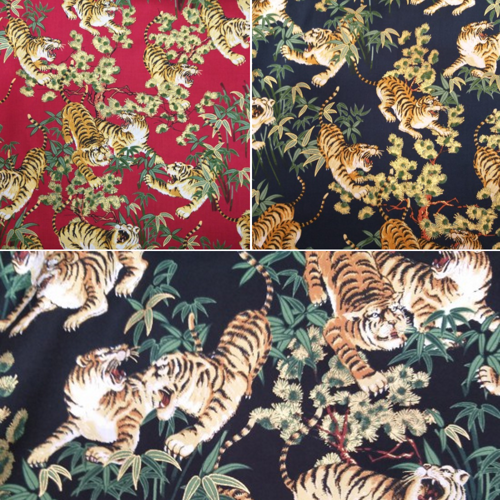 100% Japanese Cotton Fabric Nutex Shina Metallic Oriental Tigers Flowers Leaves Col.101