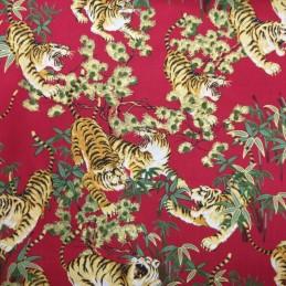 100% Japanese Cotton Fabric Nutex Shina Metallic Oriental Tigers Flowers Leaves Col.101