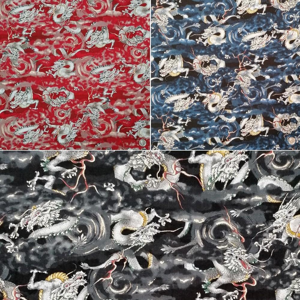 100% Japanese Cotton Fabric Nutex Shina Dragons Metallic Oriental Dragons Waves Col.106