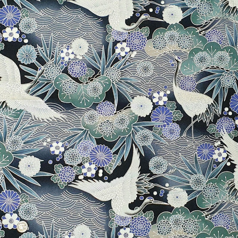 100% Japanese Cotton Fabric Nutex Koko  Metallic Cranes Birds Flowers Leaves Col.101