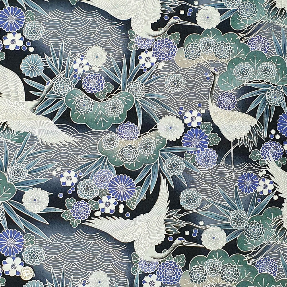 100% Japanese Cotton Fabric Nutex Koko  Metallic Cranes Birds Flowers Leaves Col.101