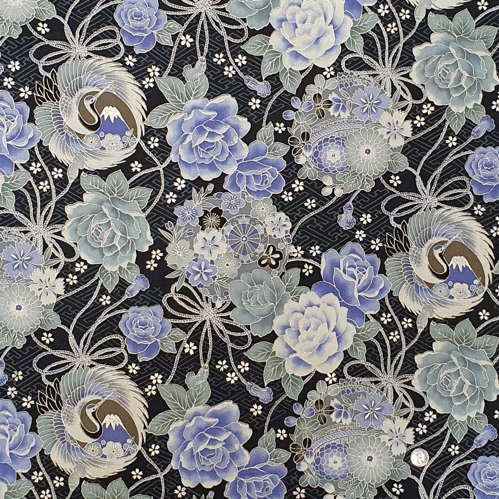 100% Japanese Cotton Fabric Nutex Toto Garden Cranes Floral Mountain Bridge Col.101
