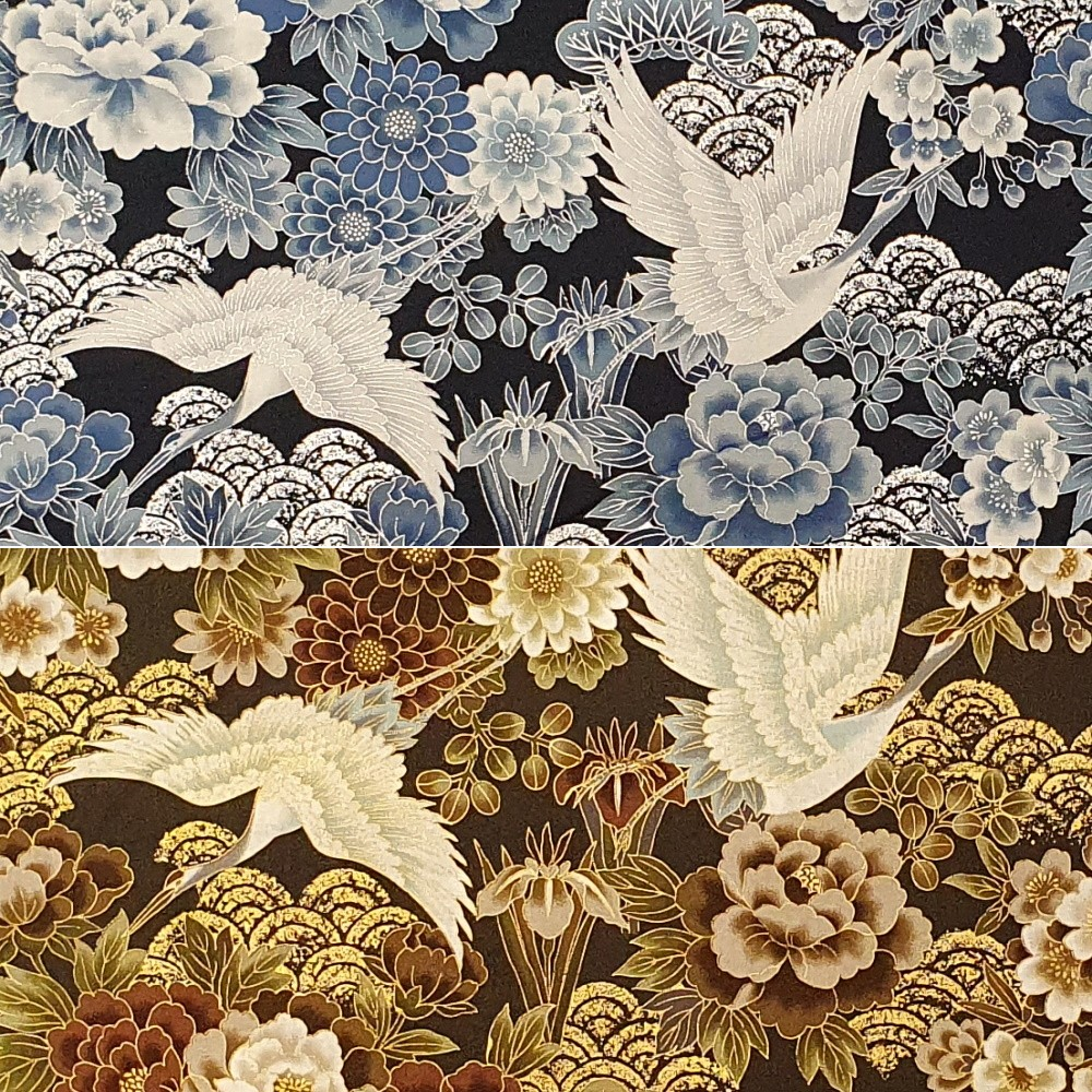 100% Japanese Cotton Fabric Nutex Kio Metallic Cranes Hills Bushes And Flowers Col.102