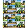 100% Cotton Fabric Kennard & Kennard Farm Machines Tractors Working in Fields