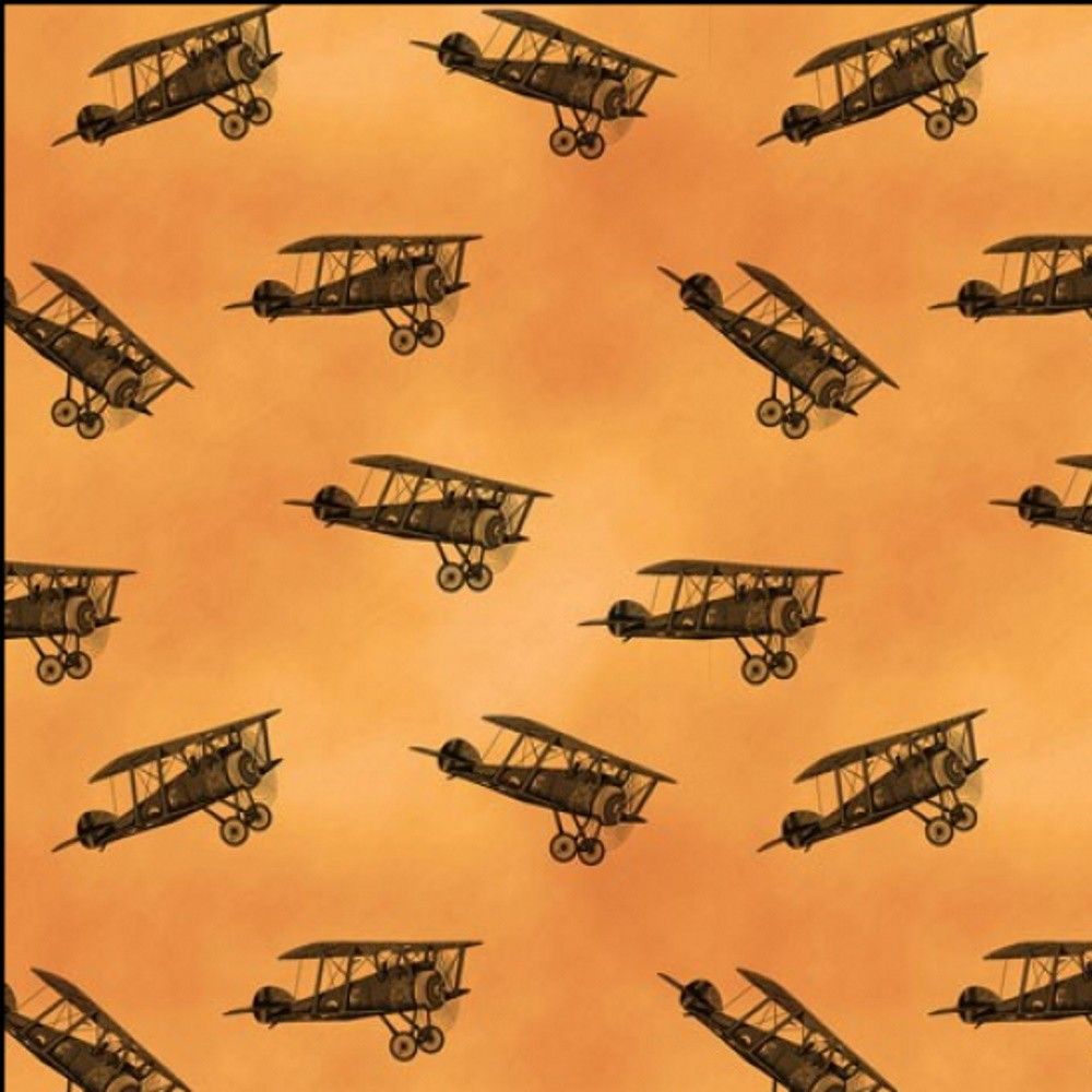 100% Cotton Fabric Kennard & Kennard Remembrance War Planes SunSet Sky Col.102