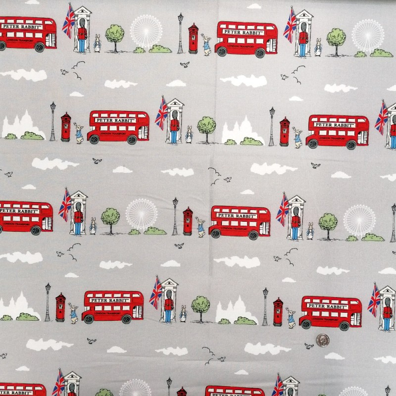 100% Cotton Fabric The World of Beatrix Potter Peter Rabbit London Eye Bus Guard