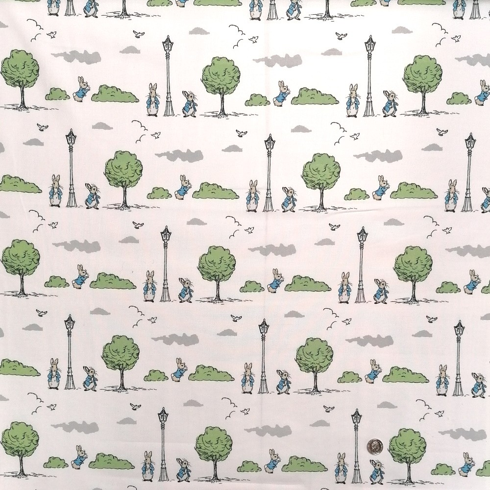 100% Cotton Fabric The World of Beatrix Potter Tale of Peter Rabbit Trees And Bushes 2635 D4