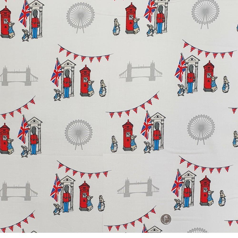 100% Cotton Fabric Beatrix Potter Tale of Peter Rabbit London Eye Bridge Guards
