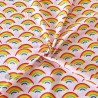 Polycotton Fabric Bright Rainbows and Clouds in the Sky Pride Rainbow