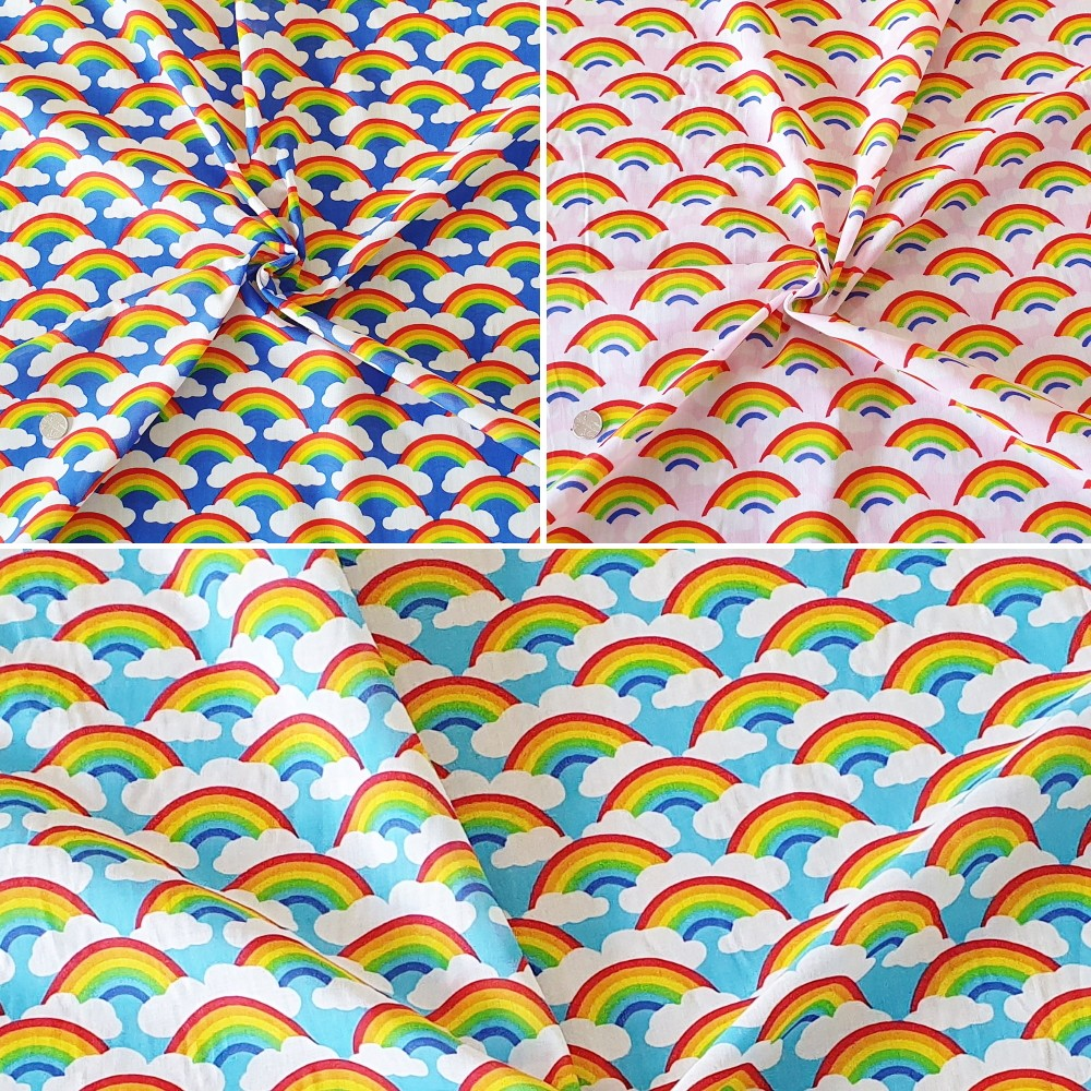 Polycotton Fabric Bright Rainbows and Clouds in the Sky Pride Rainbow Turquoise
