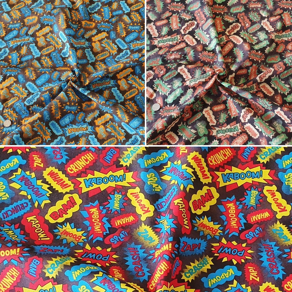 Polycotton Fabric Superhero Sound Effects Comic Sounds Kapow Bam Boom Red/Yellow
