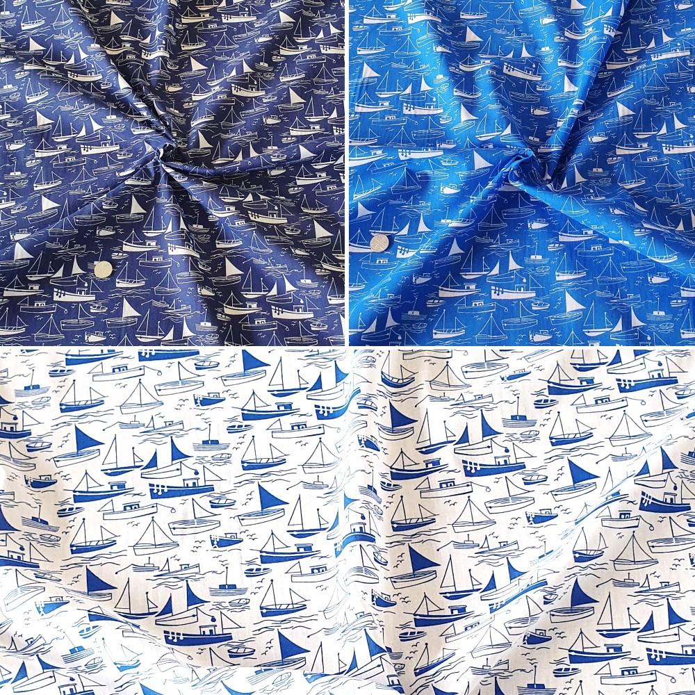 Polycotton Fabric Boats Sea...