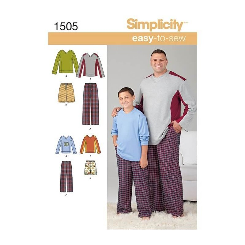 Easy To Sew Tall Boy\'s And Men\'s Loungewear Fabric Sewing Patterns ...