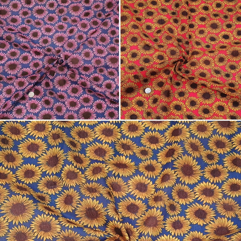 Polycotton Fabric Large Summer Drawn Sunflowers Floral Flowers Navy