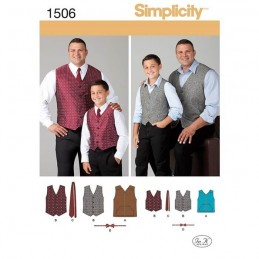 Simplicity Sewing Patterns 1506 Easy To Sew Tall Boy's & Men's Lined Vest & Bow Tie Fabric