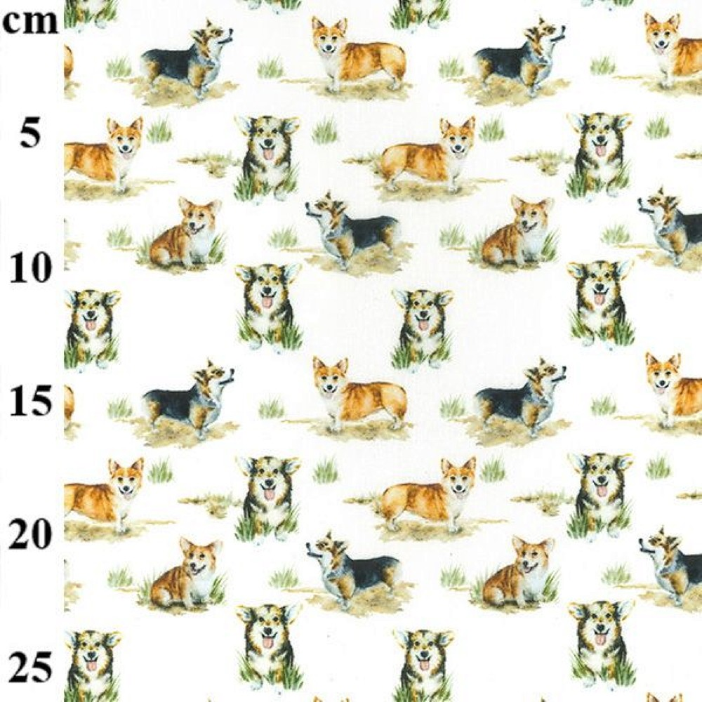 100% Cotton Fabric John Louden Happy Corgi Dogs Corgis Puppies Animal 150cm Wide