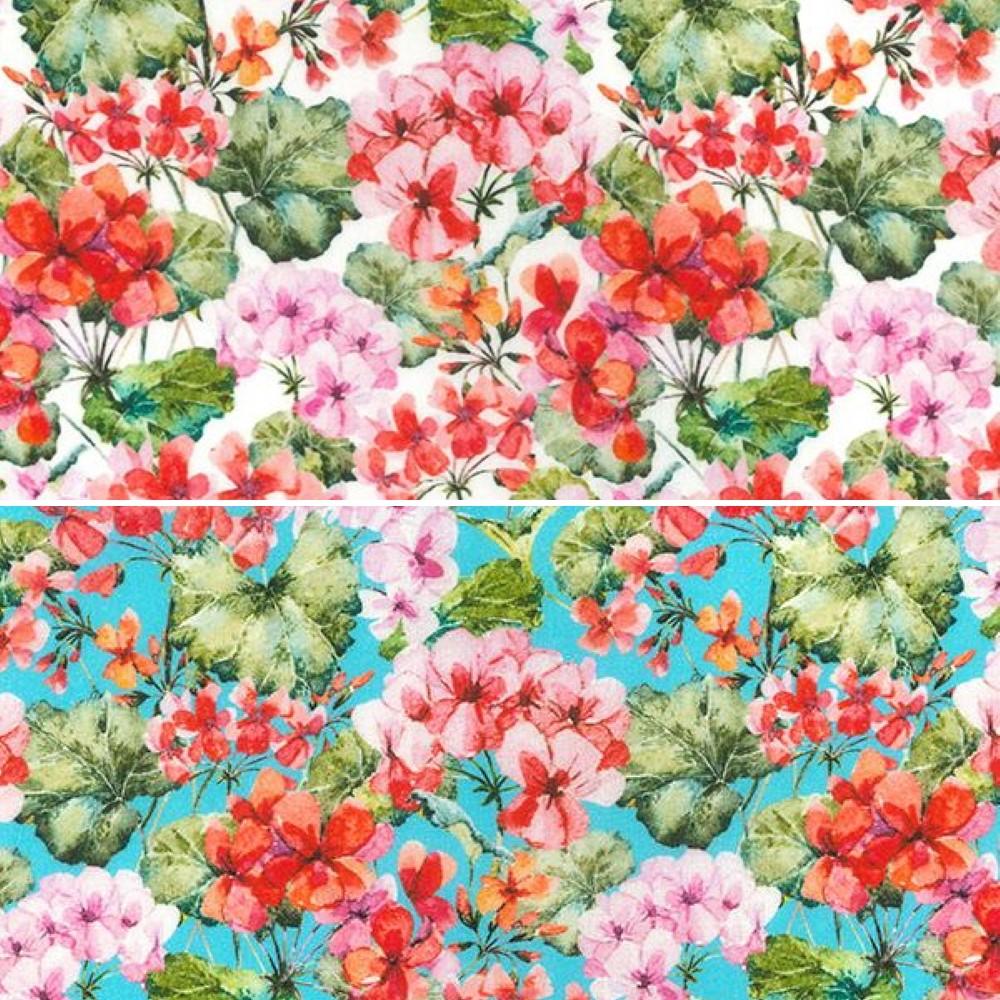 100% Cotton Fabric John Louden Pink Orange Blossom Floral Flower Leswell 150cm W Sky
