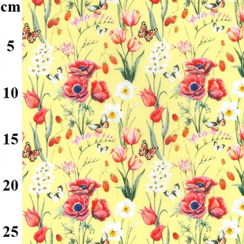 100% Cotton Fabric John Louden Poppy Field Butterflies Floral Flowers 150cm Wide Yellow