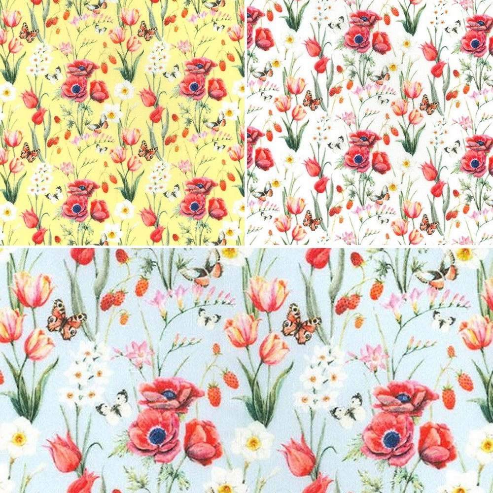 100% Cotton Fabric John Louden Poppy Field Butterflies Floral Flowers 150cm Wide Yellow