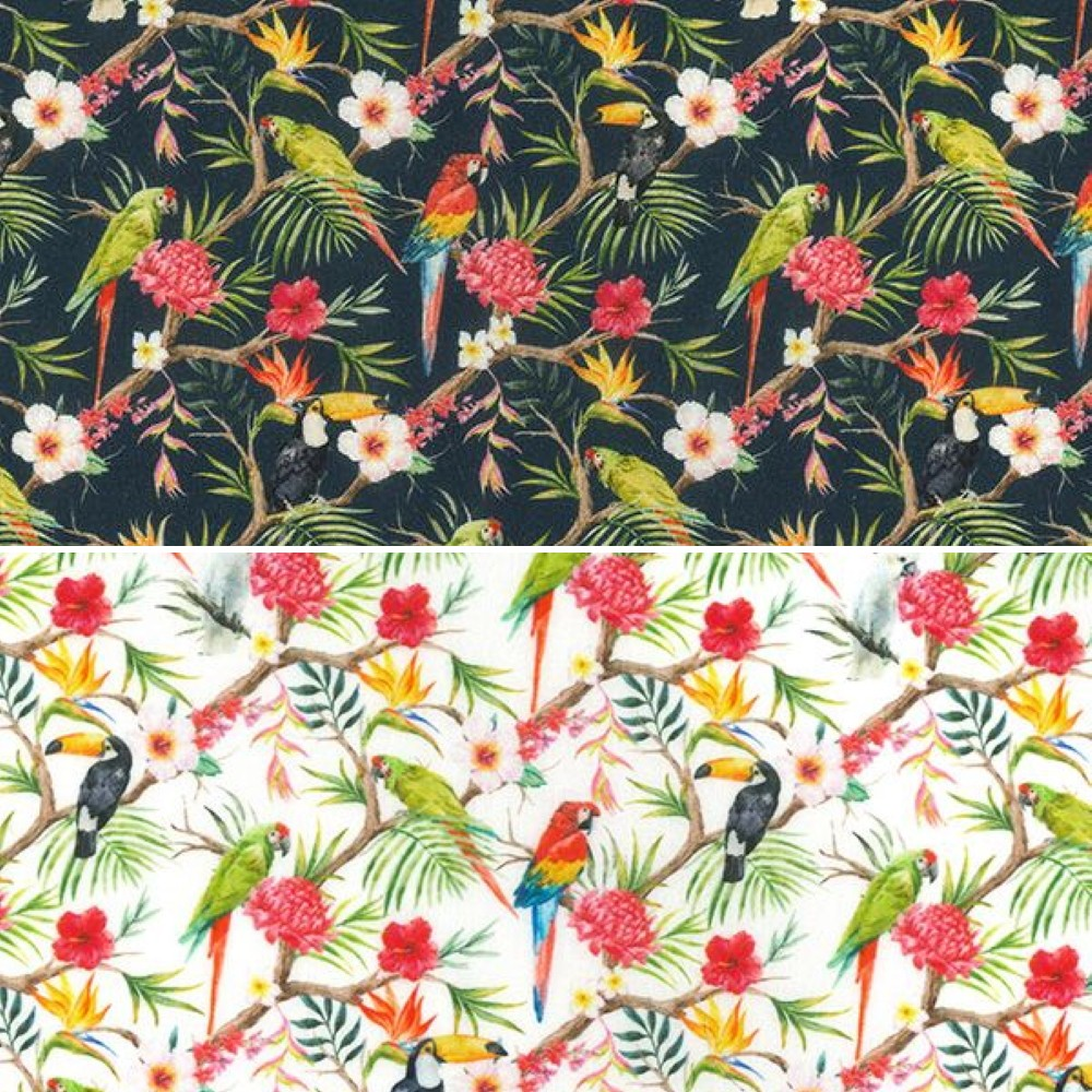 100% Cotton Fabric John Louden Parrots Cockatoos Tropical Bird Floral 150cm Wide Navy