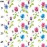 100% Cotton Fabric John Louden Pink & Blue Pansy Floral Flowers 150cm Wide