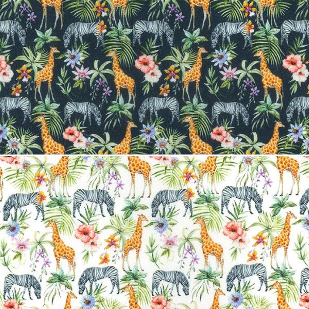 100% Cotton Fabric John Louden Zebra Giraffe Floral Ferns Flowers 150cm Wide Navy
