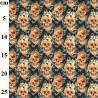 100% Cotton Fabric John Louden Goth Moth Skulls Halloween Floral Hats 150cm Wide