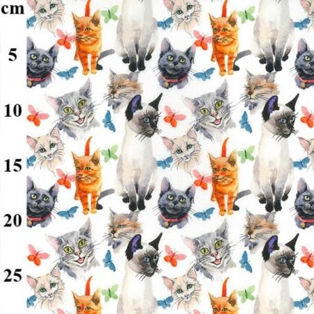 100 Cotton Fabric John Louden Happy Cute Kitty Cats Butterfly Animal 150cm Wide