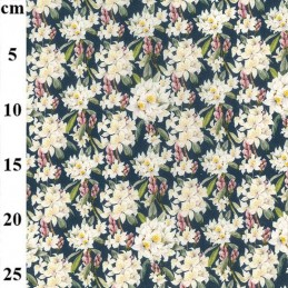 100% Cotton Fabric John Louden Lily Daffodil Floral Flower Bouquet 150cm Wide Blue