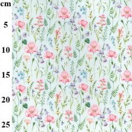 100% Cotton Fabric John Louden Poppy Bluebells Flower Floral Meadow 150cm Wide Sky