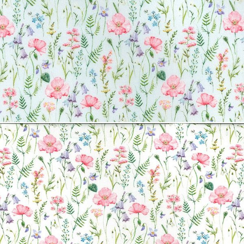 100% Cotton Fabric John Louden Poppy Bluebells Flower Floral Meadow 150cm Wide Sky