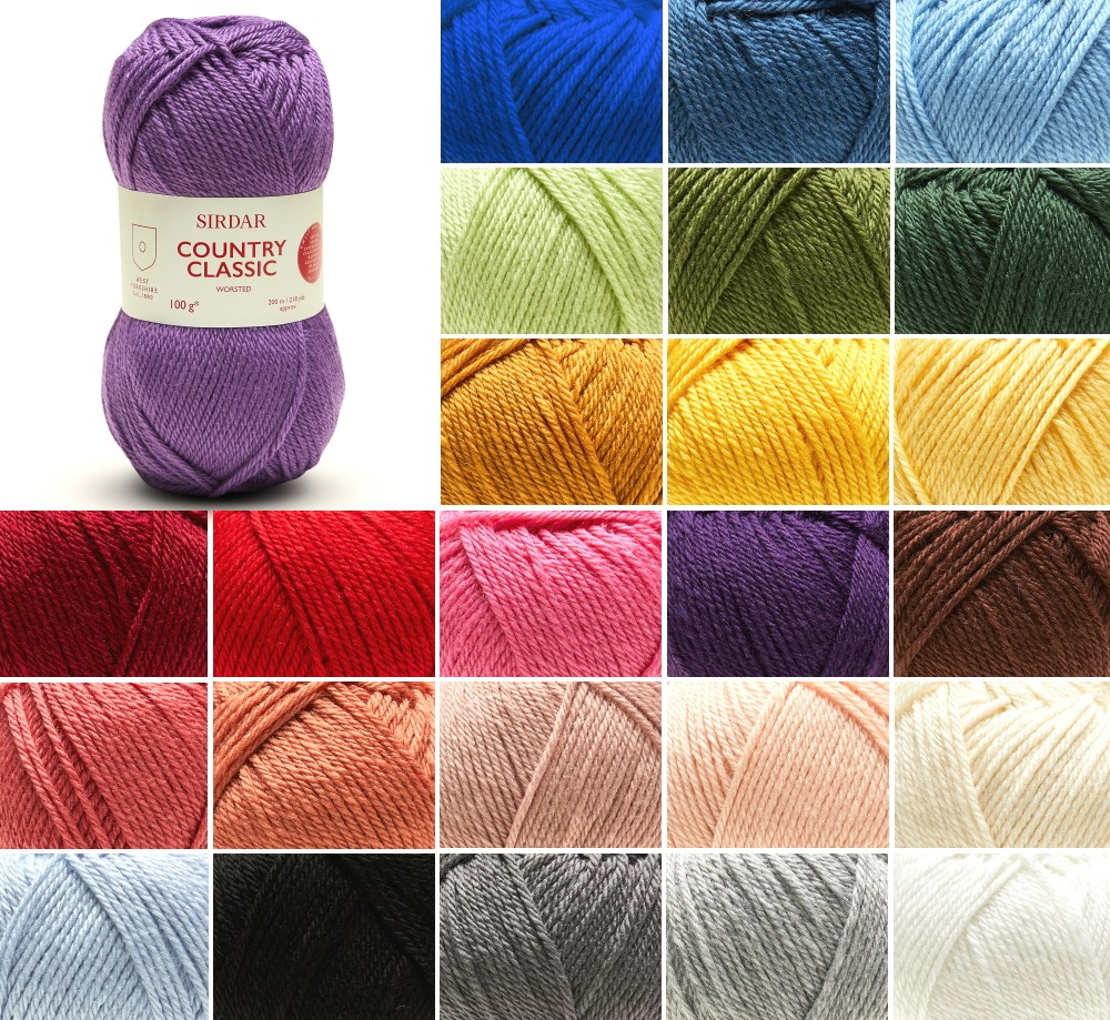 Sirdar 100g Country Classic Worsted Knitting Crochet Yarn Ball Wool Royalty