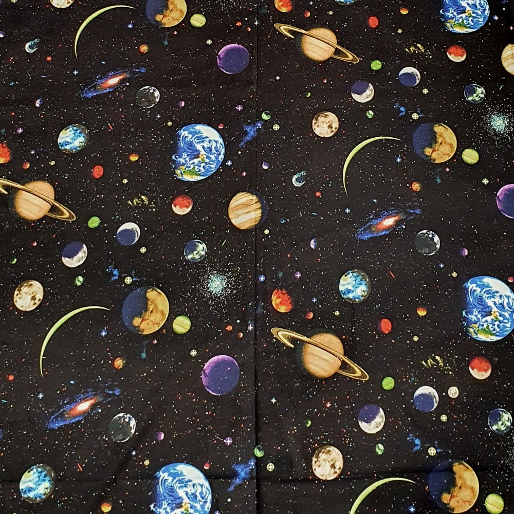 100% Cotton Fabric Nutex Solar System Glitter Outer Space Planets Galaxy Stars