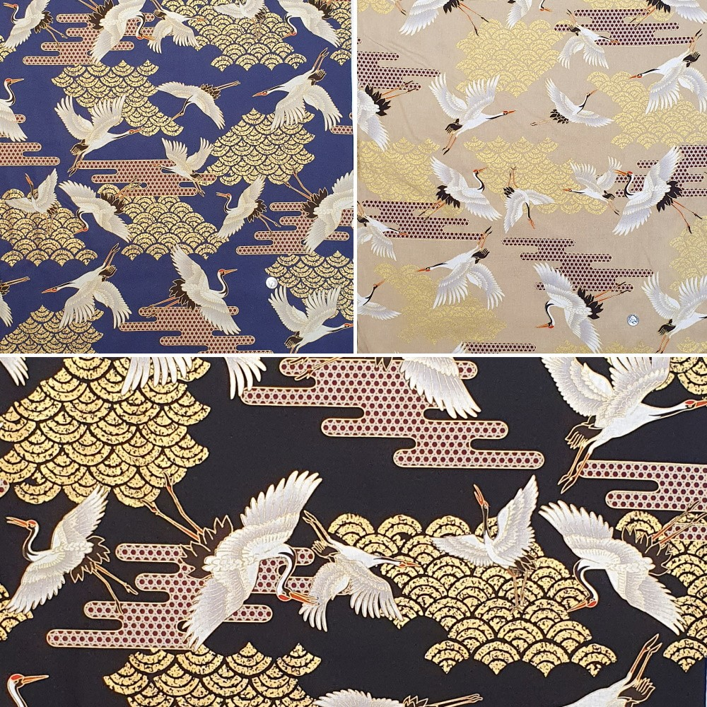 100% Japanese Cotton Fabric Nutex Kuren Oriental Metallic Flying Cranes Birds Col.101