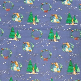 100% Cotton Fabric Beatrix Potter Peter Rabbit Christmas Tree Festive Family