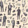 100% Cotton Fabric Nutex Victorian Vintage Men Gentleman Suit