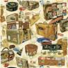 100% Cotton Fabric Nutex Victorian Vintage Baggage Suitcase Travel