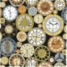 100% Cotton Fabric Nutex Victorian Vintage Clocks Time Pocket Watch
